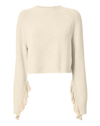 Cropped Ruffle Pullover Sweater, BEIGE, hi-res