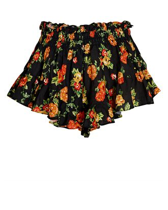 Ruffled Floral Linen Shorts, BLACK/RED, hi-res