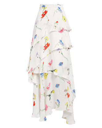 Elodie Tiered Skirt, WHITE/FLORAL, hi-res