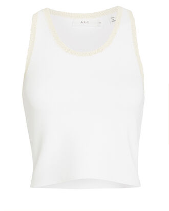 Elliot Crochet-Trimmed Knit Tank, WHITE, hi-res