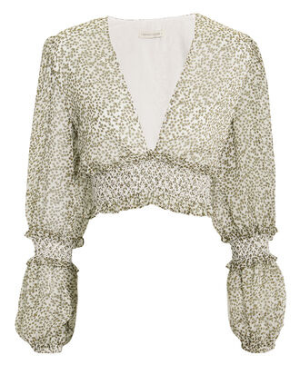 Behati V-Neck Crop Blouse, WHITE/GREEN, hi-res