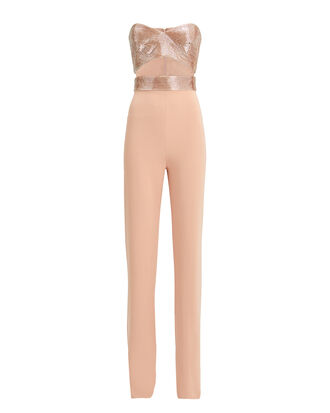 Strapless Beaded Bustier Jumpsuit, BLUSH, hi-res