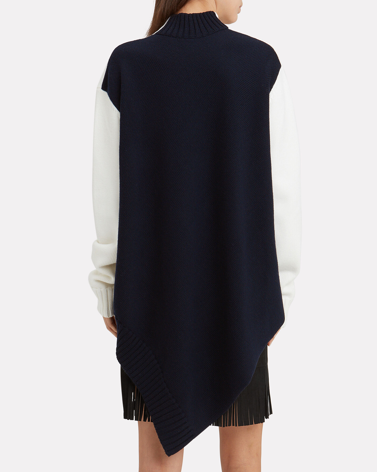 Cape Back Two-Tone Sweater, NAVY, hi-res