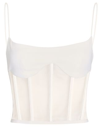 Tulle-Trimmed Crepe Corset Top, WHITE, hi-res