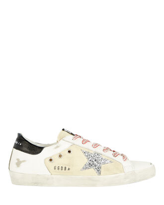 Superstar Leather-Trimmed Canvas Sneakers, BEIGE/WHITE, hi-res