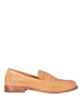 Keaton Woven Leather Loafers, HONEY, hi-res