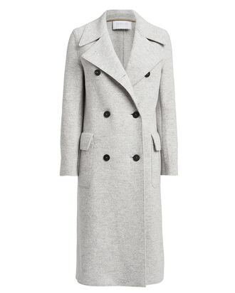 Boiled Wool Double-Breasted Military Coat, GREY, hi-res