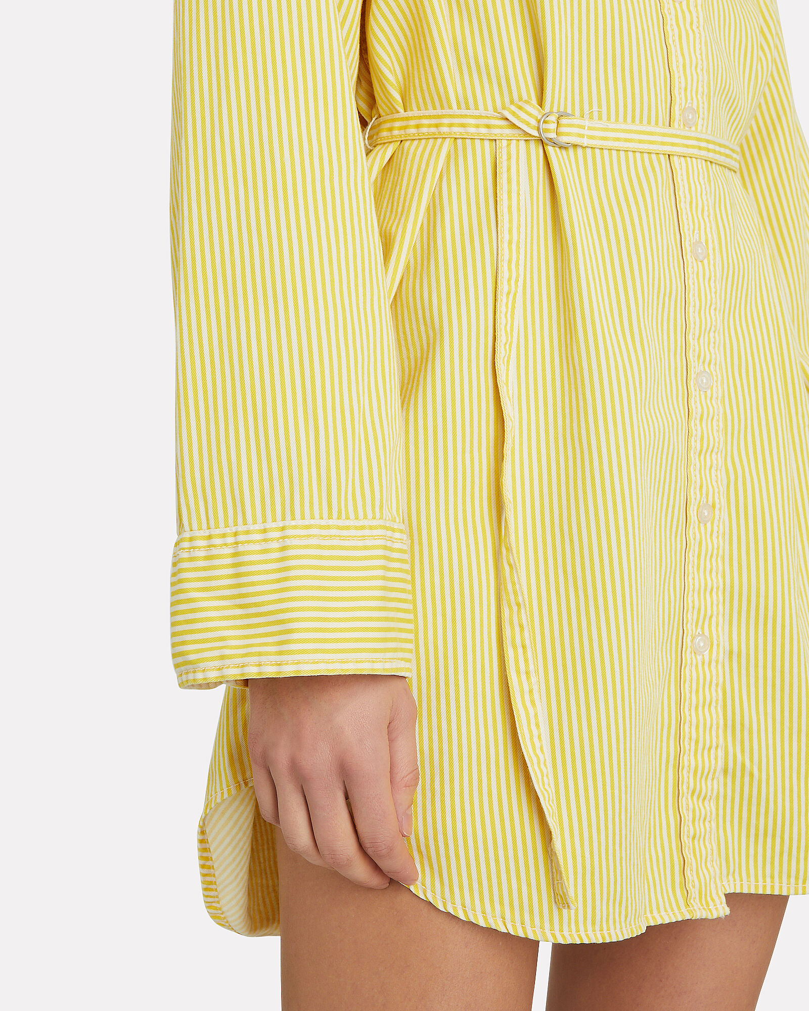Belted Striped Poplin Shirt Dress, MULTI, hi-res