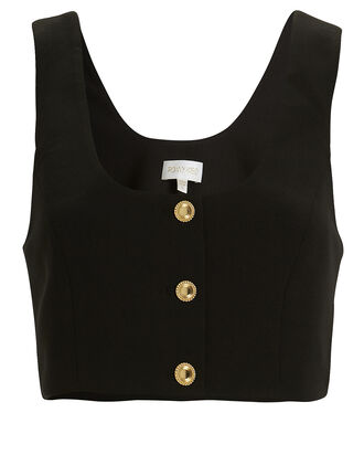 Nicolina Crepe Crop Top, BLACK, hi-res