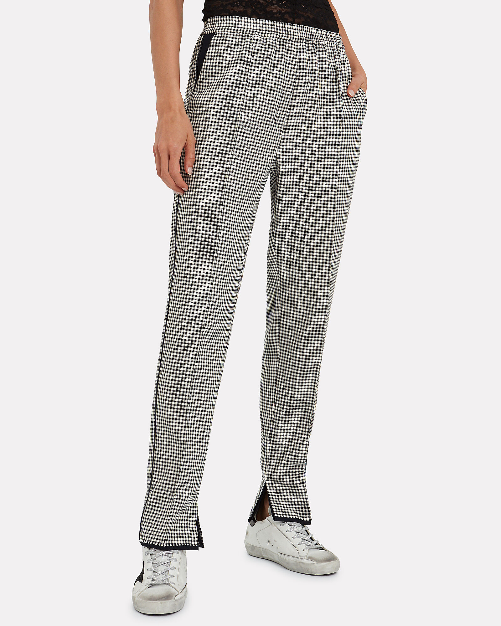 Minori Wool-Cotton Checked Trousers, BLACK/WHITE, hi-res
