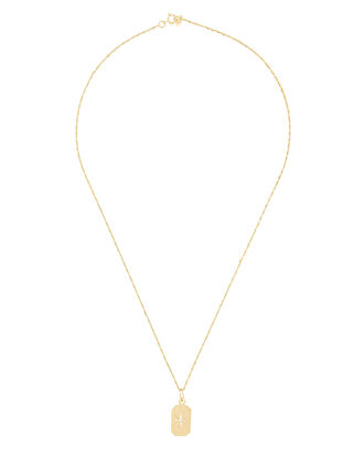 Diamond Starburst ID Tag Necklace, GOLD, hi-res