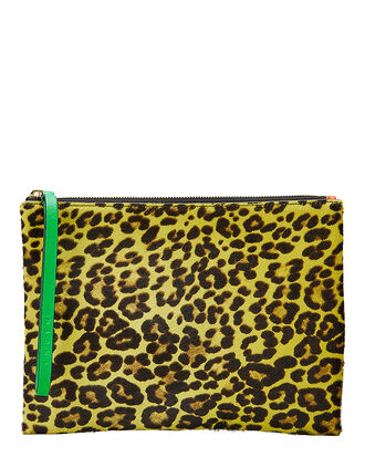 Leopard Haircalf Clutch, YELLOW, hi-res