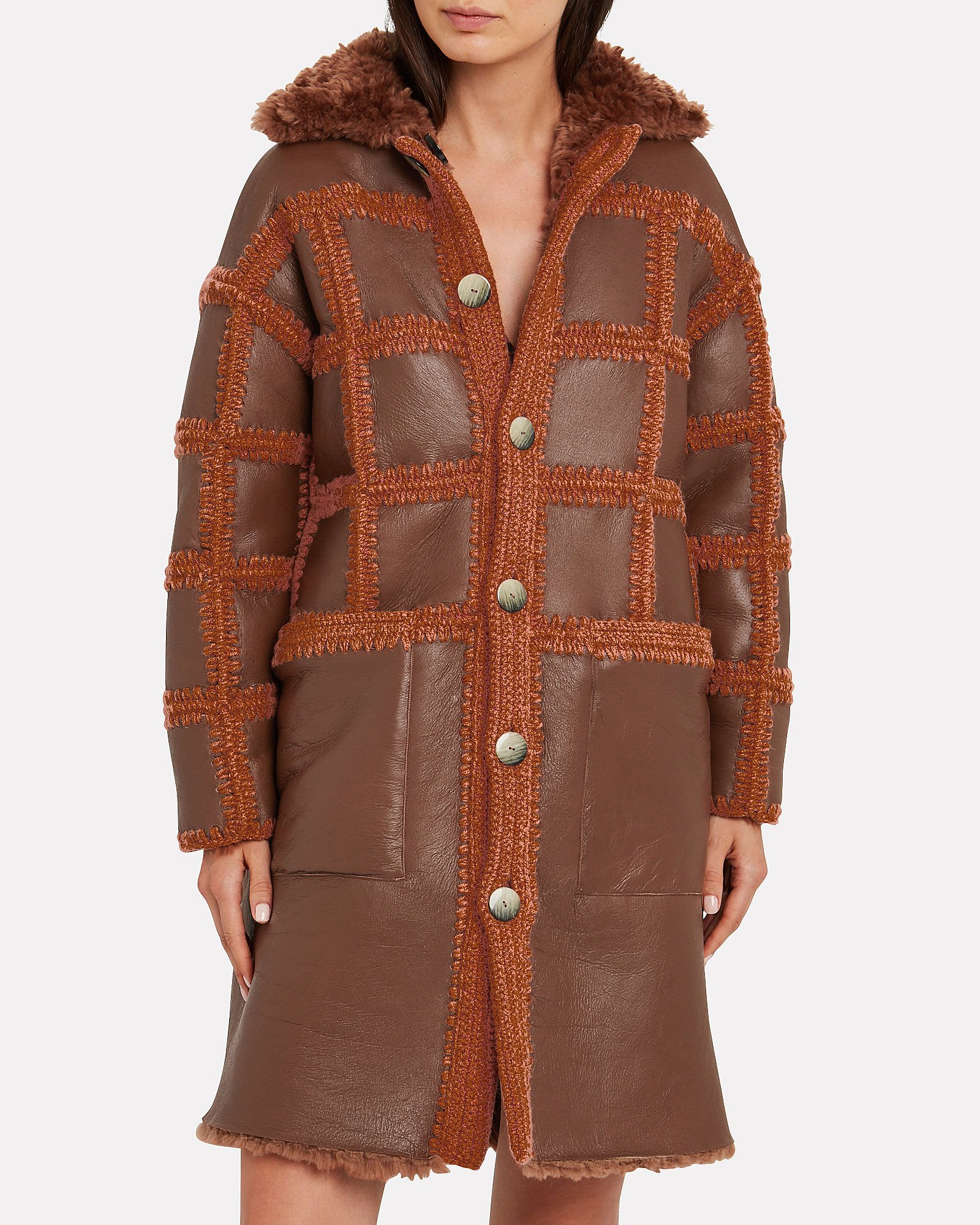 Ellaria Reversible Shearling Coat, RED/RUST, hi-res
