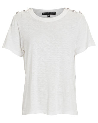 Carla Button-Embellished T-Shirt, WHITE, hi-res