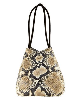Rita Triangle Snake-Embossed Bag, BROWN, hi-res