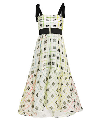Benita Checked Silk Swing Dress, IVORY CHECK, hi-res