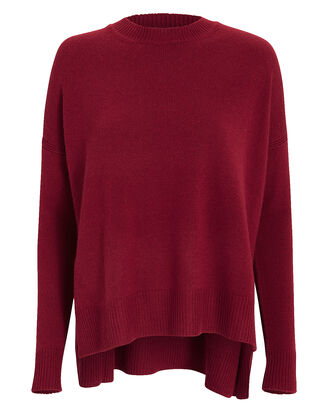 Boxy Cashmere-Blend Sweater, RED-DRK, hi-res