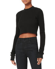 The Monaco Crop Thermal Top, BLACK, hi-res