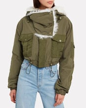 Fur-Trimmed Bomber Jacket, ARMY GREEN/IVORY, hi-res