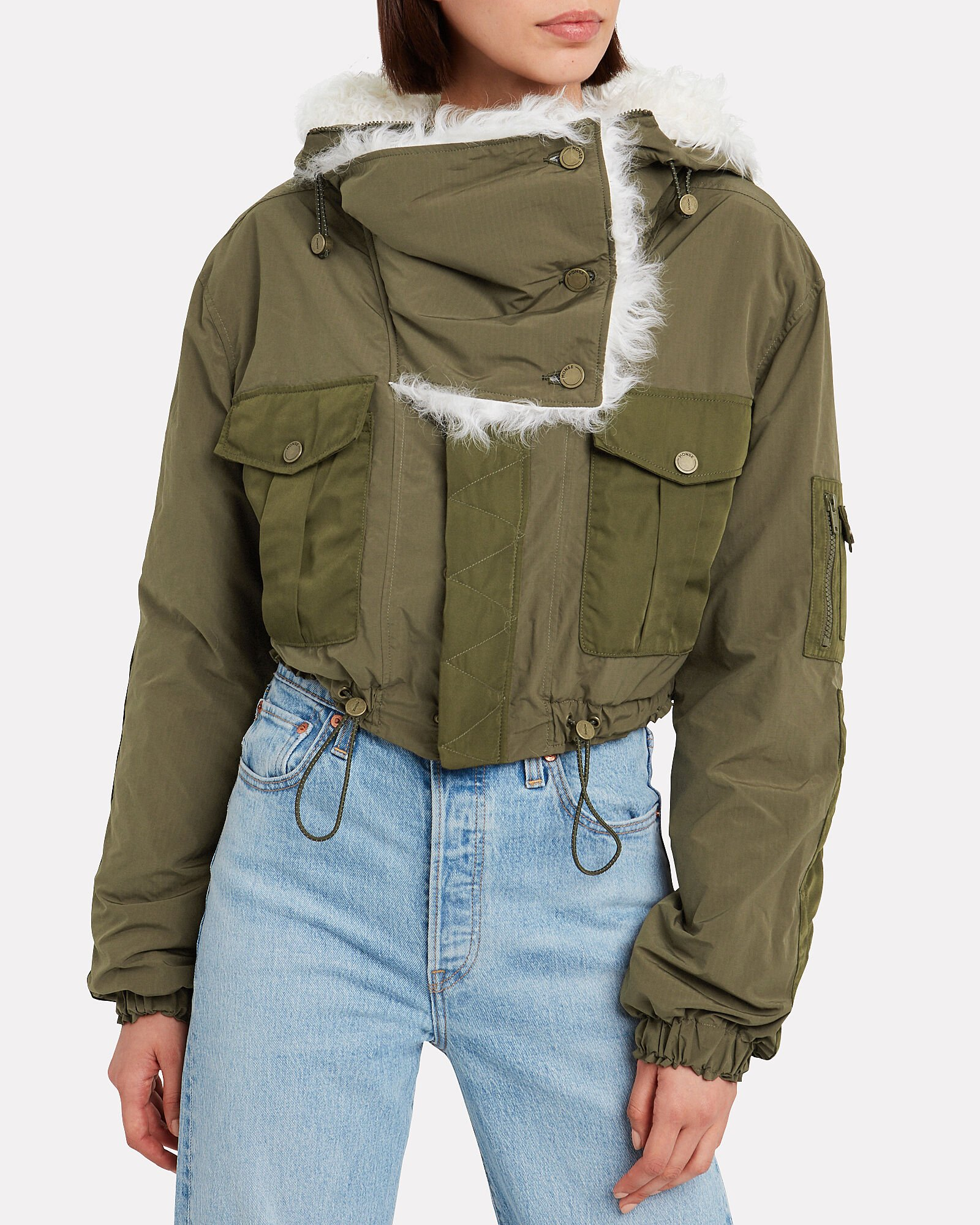 Shearling-Trimmed Bomber Jacket, ARMY GREEN/IVORY, hi-res