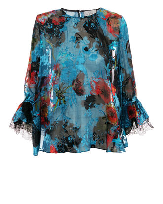 Lissie Floral Top, BLUE-MED, hi-res