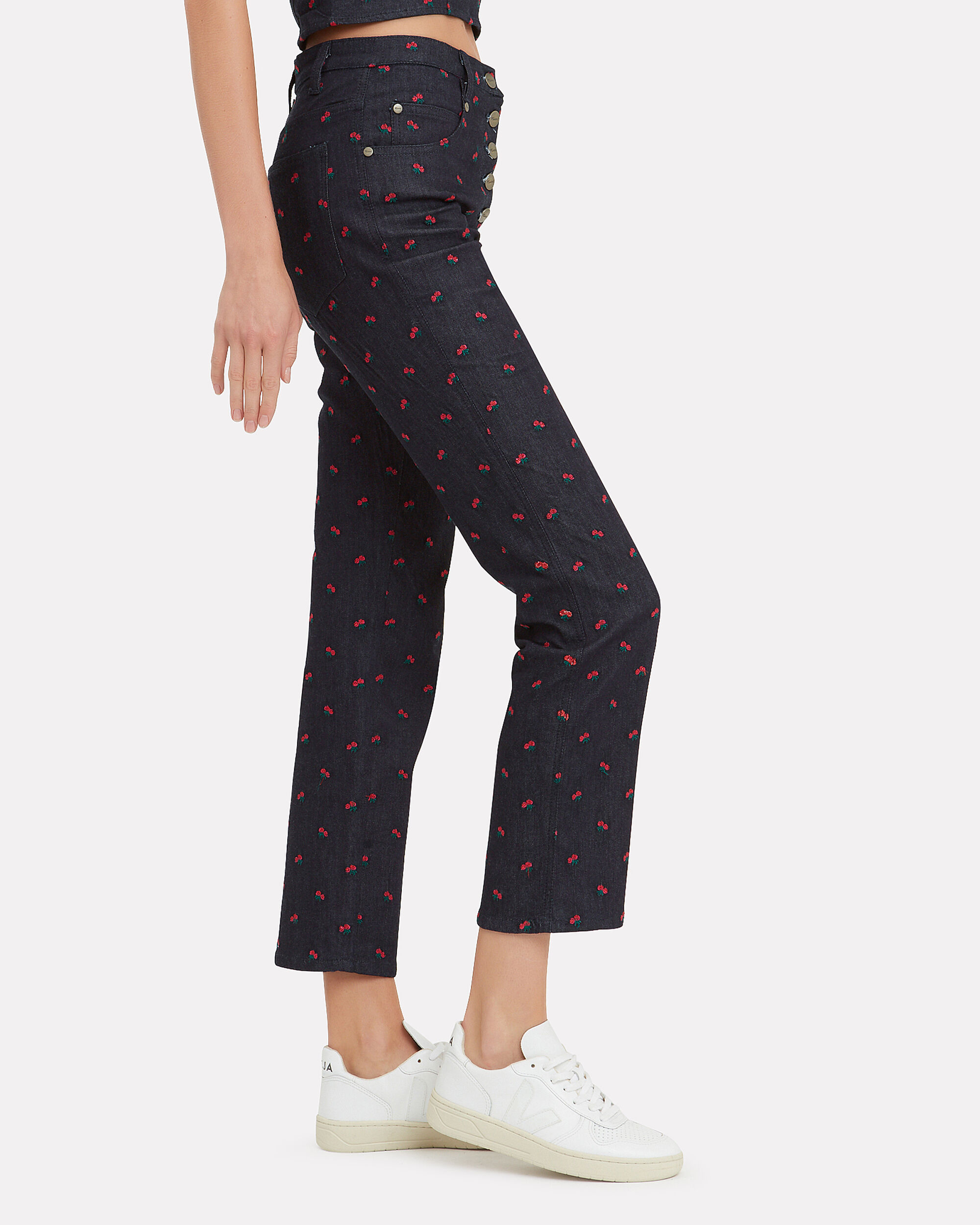 Junior Rose Embroidery Pants, BLACK, hi-res