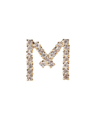 M Lettere Crystal Initial Earring, GOLD, hi-res