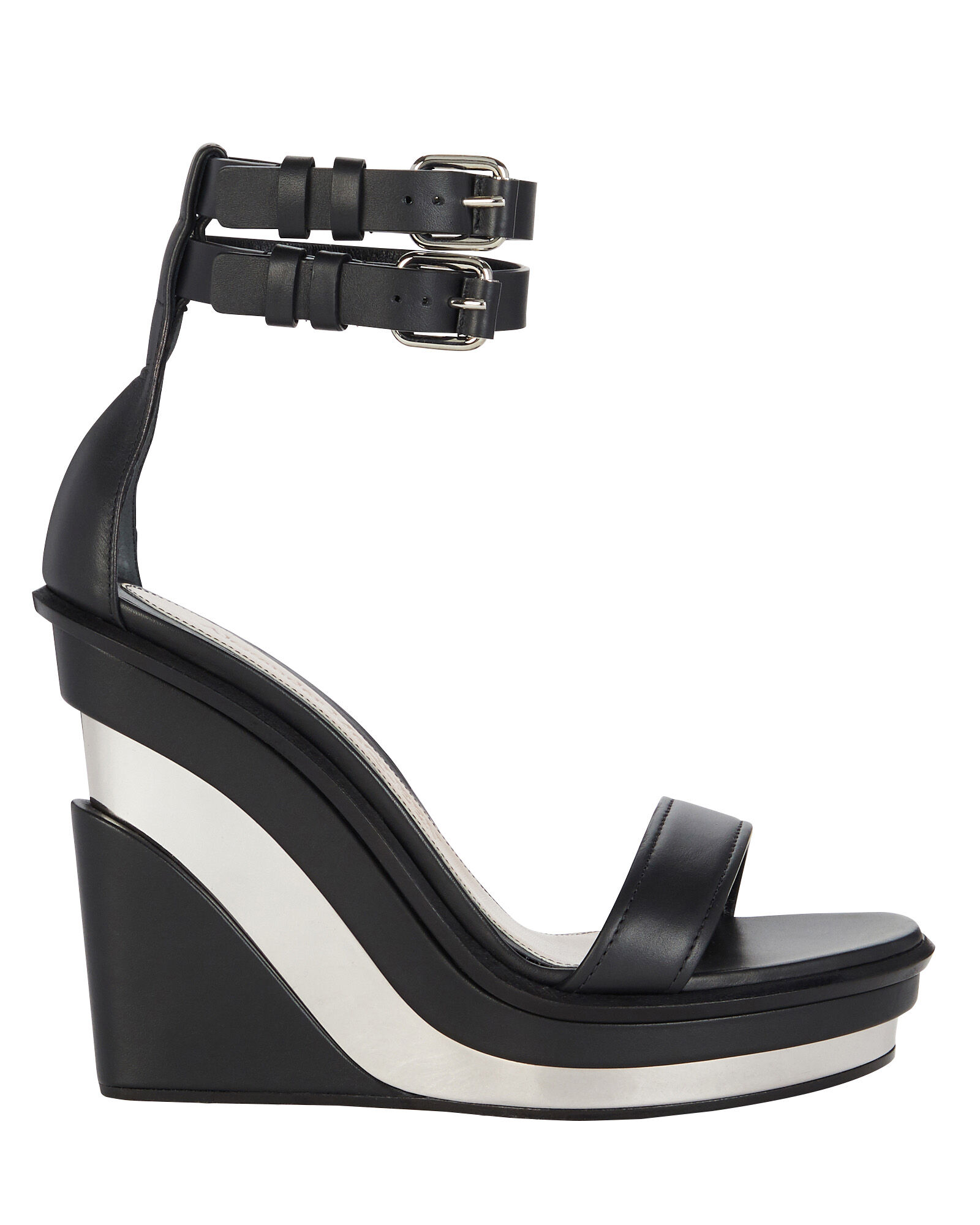 Trompe L'oeil Wedge Sandals, BLACK, hi-res
