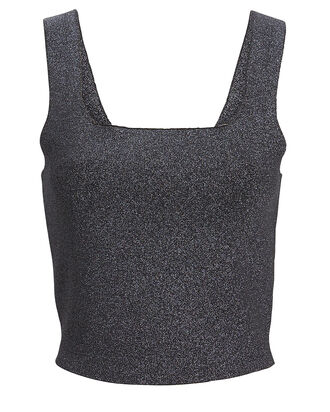 Victoria Metallic Knit Tank Top, SILVER, hi-res