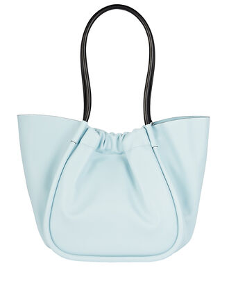 Ruched L Leather Tote, BLUE-LT, hi-res
