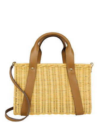 Daisy Wicker Picnic Bag, TAN, hi-res