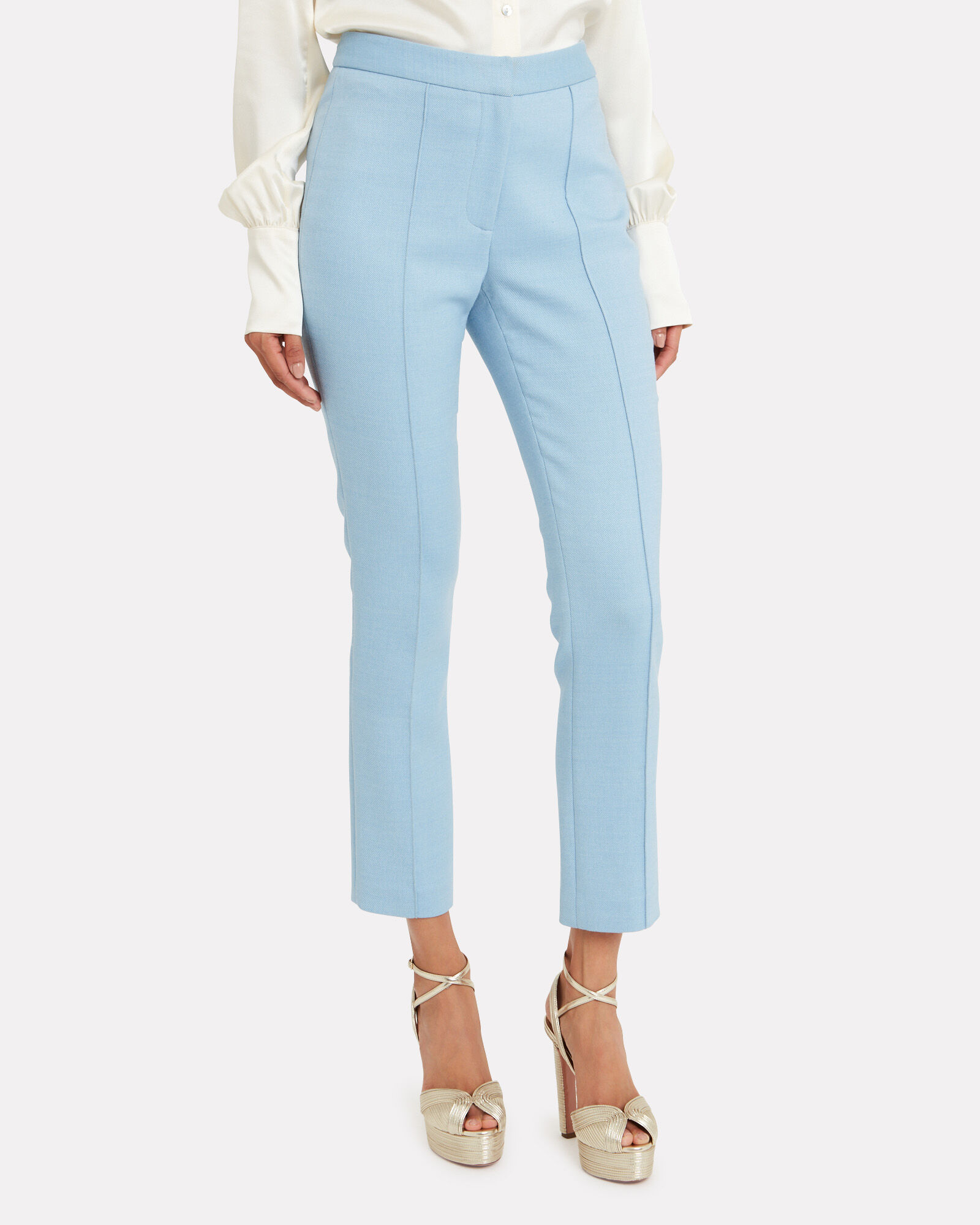 Cigarette Pintuck Trousers, BLUE-LT, hi-res