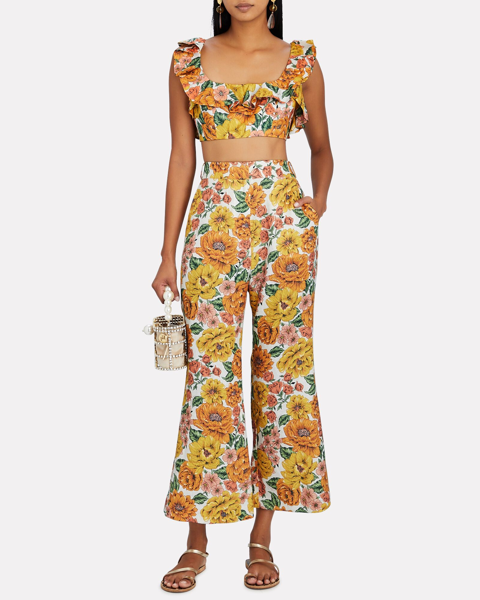 Poppy Ruffle Floral Crop Top, WHITE/YELLOW/ORANGE, hi-res