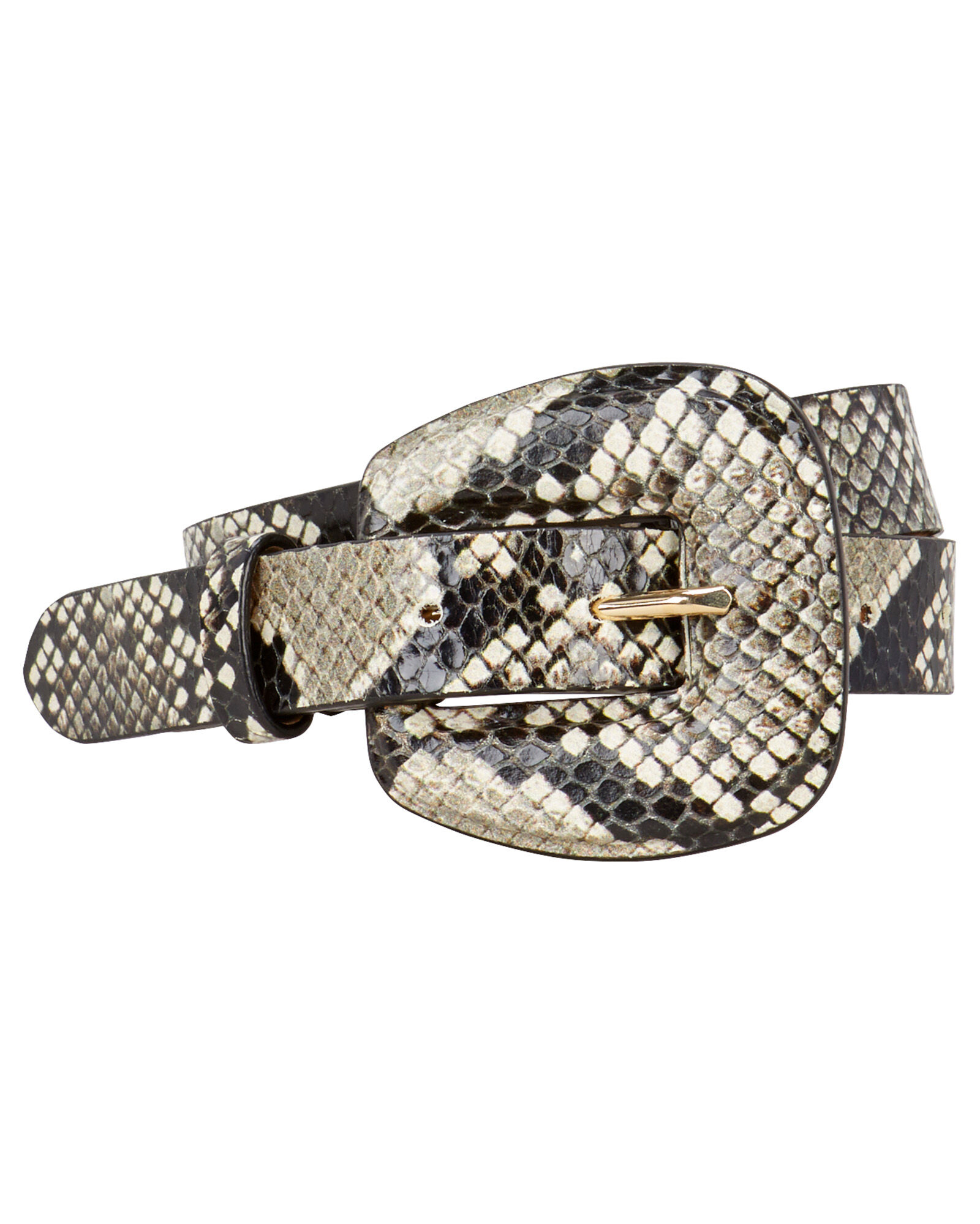 Elsy Python-Embossed Waist Belt, GREY, hi-res
