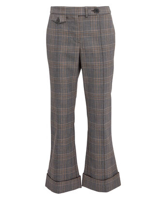 Cropped Flare Trousers, GREY/PLAID, hi-res