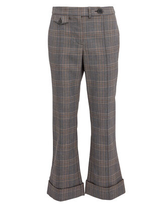 Cropped Flare Trousers, GREY PLAID, hi-res