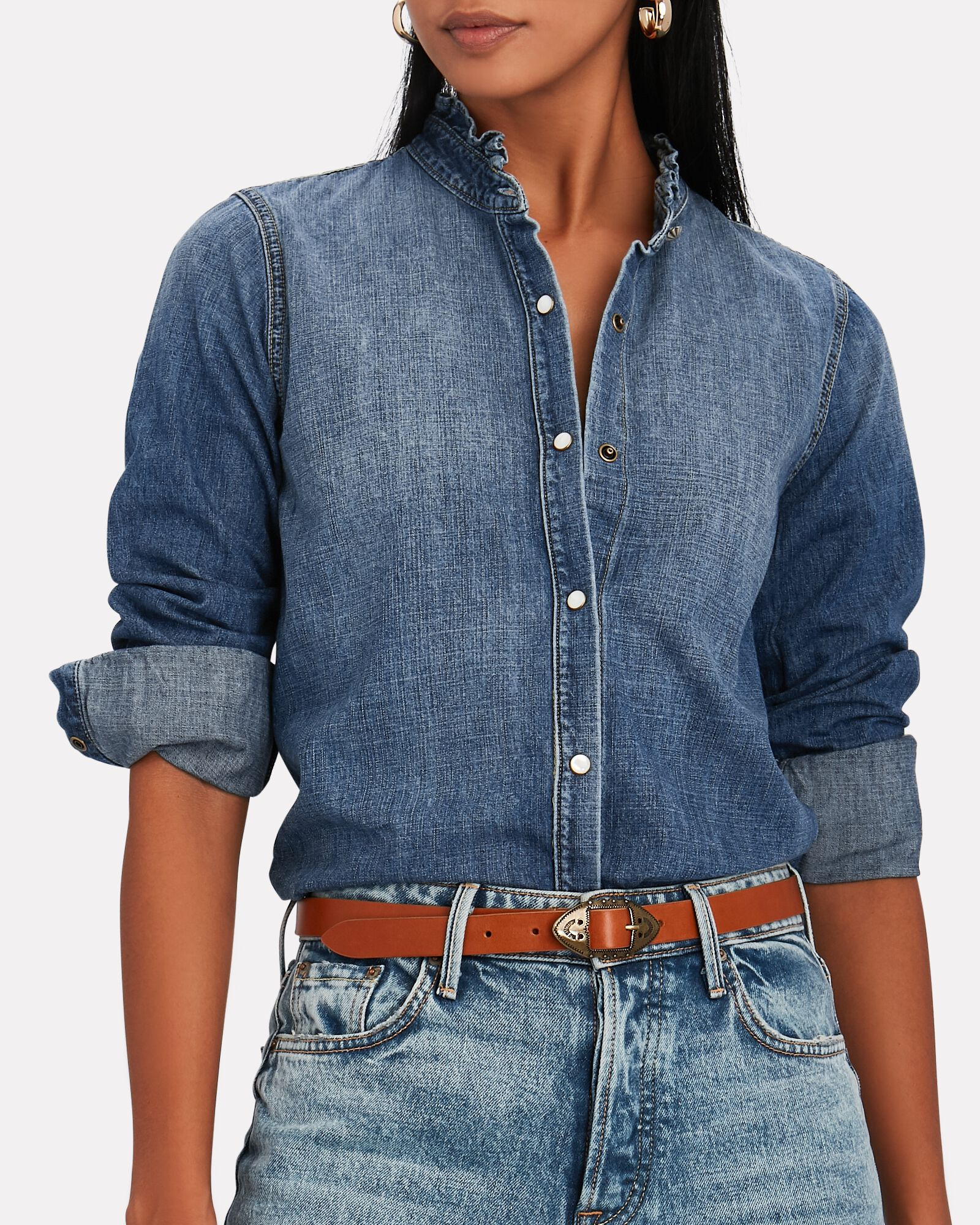Lennon Ruffled Chambray Shirt, MEDIUM WASH DENIM, hi-res