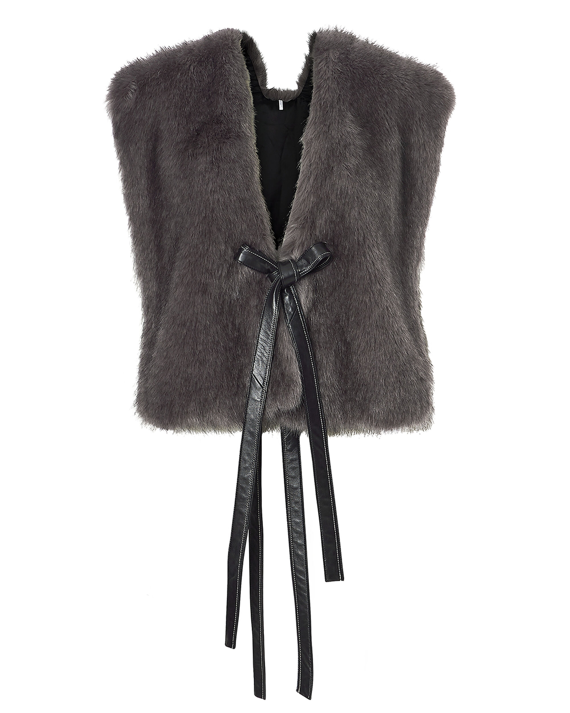 Leather Ties Faux Fur Vest, CHARCOAL, hi-res