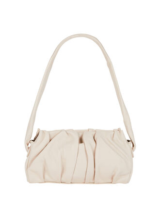 Vague Pleated Leather Shoulder Bag, CREAM, hi-res