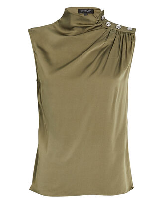 Cherie Sleeveless Silk Turtleneck Top, , hi-res