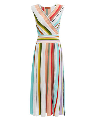 Striped Pleated Midi Dress, WHITE/PINK/GREEN, hi-res