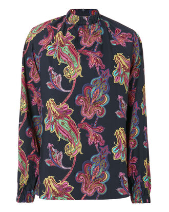 Paisley Shirred High Neck Shirt, NAVY, hi-res