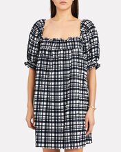 Seersucker Babydoll Dress, NAVY/WHITE PLAID, hi-res