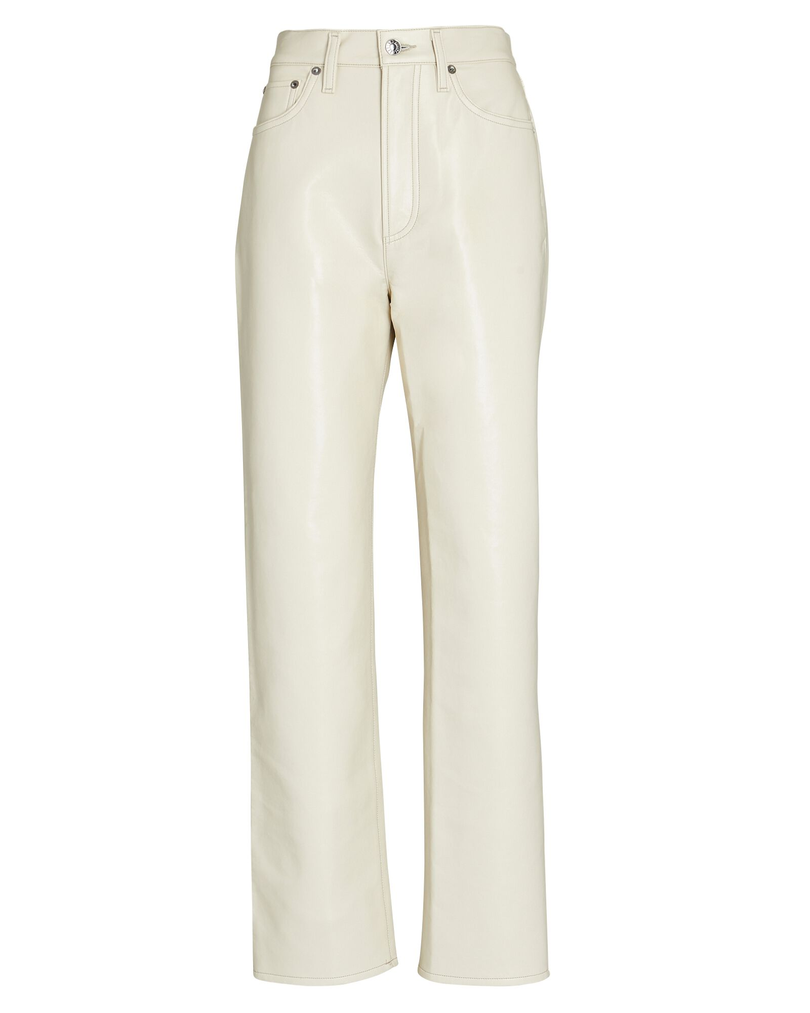 Fitted 90s Recycled Leather Pants, POWDER, hi-res