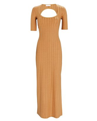 Amanda Rib Knit Midi Dress, LIGHT BROWN, hi-res