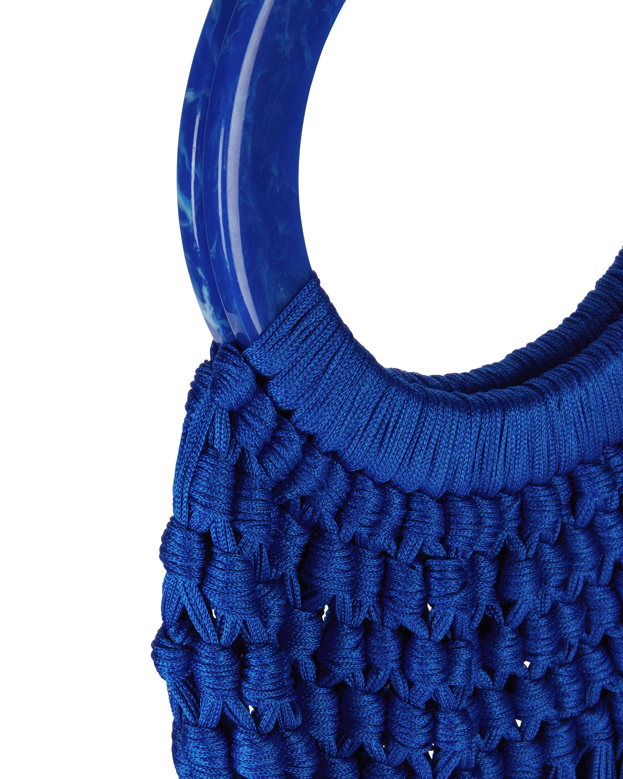 Cobalt Acrylic Handle Tassel Bag, BLUE-MED, hi-res