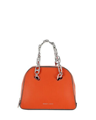Mini Bowling Leather Bag, ORANGE, hi-res