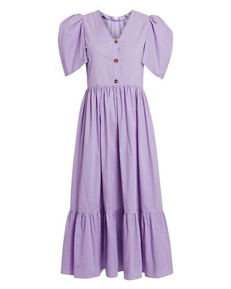 Nisha Cotton Poplin Midi Dress, LIGHT PURPLE, hi-res
