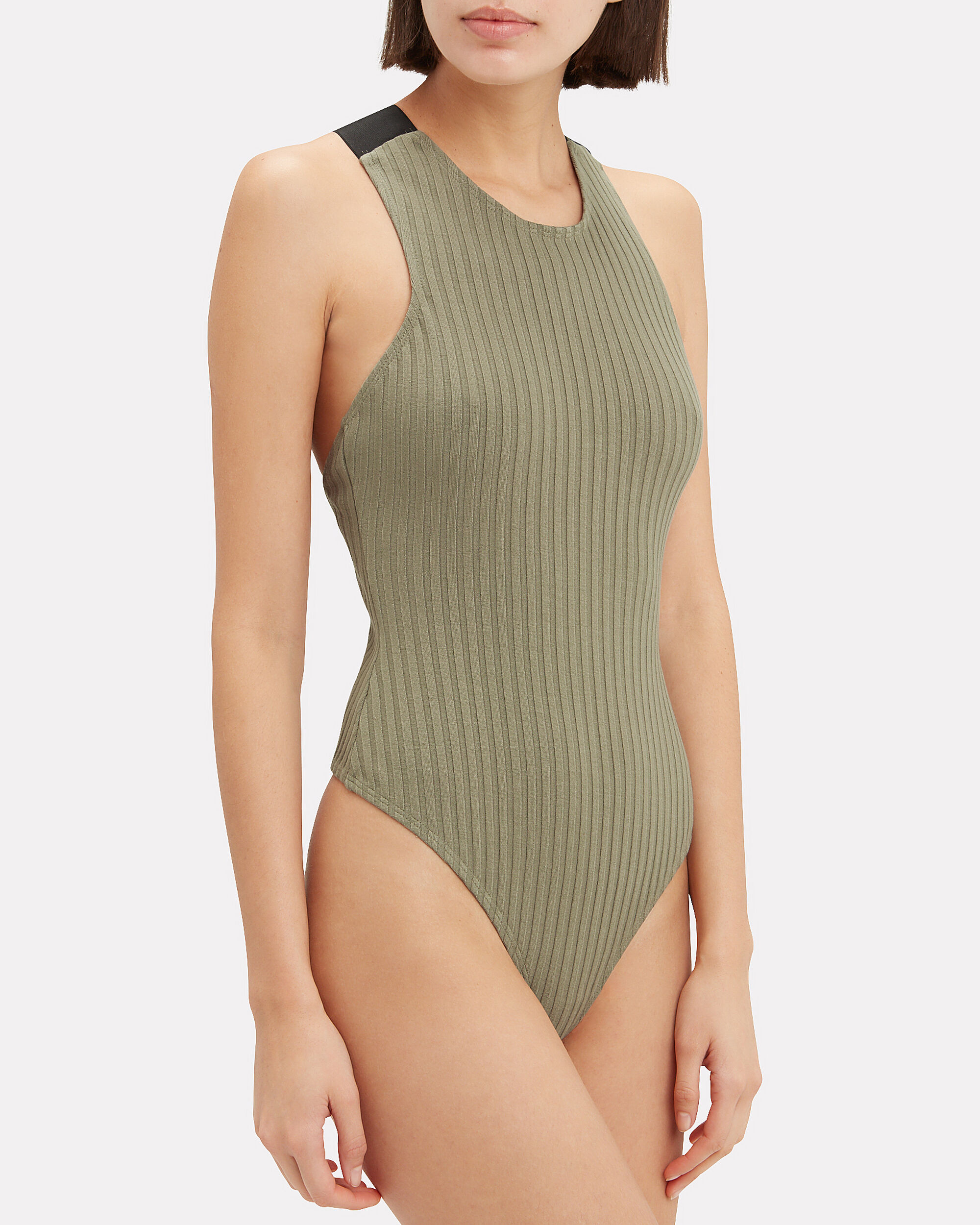Wide Ribbed Bodysuit, OLIVE/BLACK, hi-res