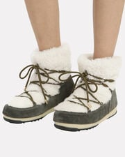 Shearling And Suede Moon Boots, ARMY GREEN/WHITE, hi-res